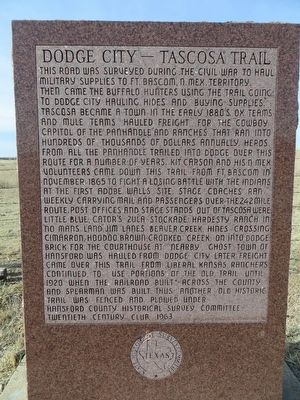 Dodge City-Tascosa Trail Marker image. Click for full size.