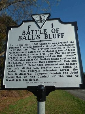 Battle of Ball's Bluff Marker image. Click for full size.