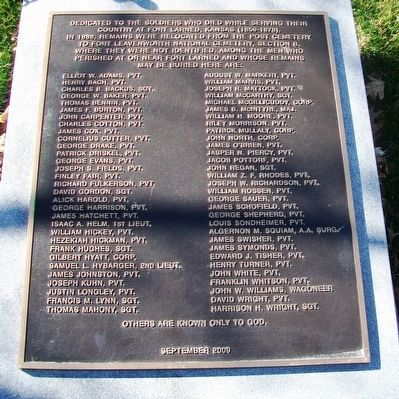 Soldiers Who Died at Fort Larned Marker image. Click for full size.
