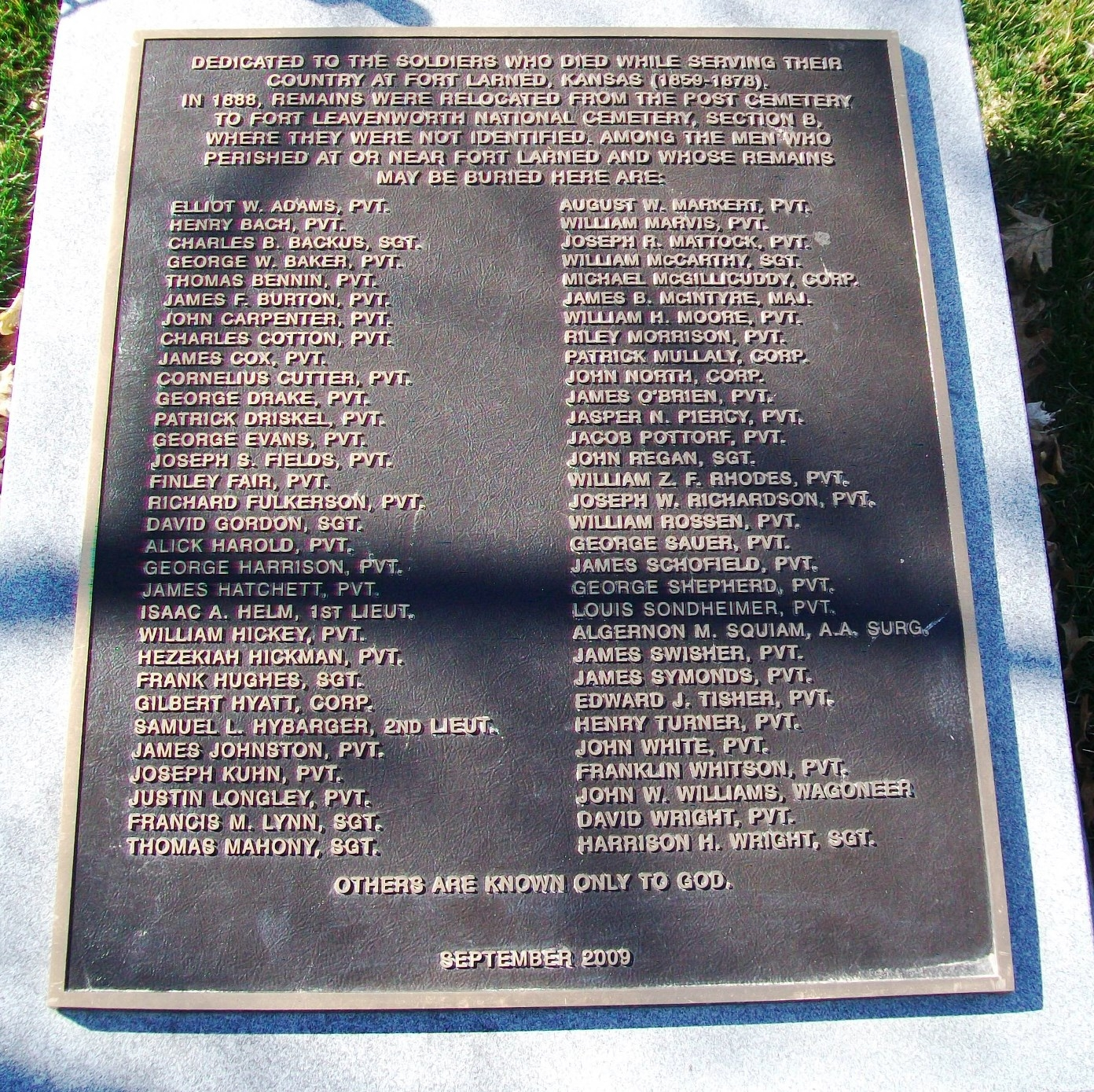 Soldiers Who Died at Fort Larned Marker