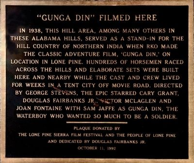"""Gunga Din"" Filmed Here Marker image. Click for full size."