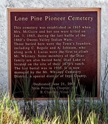 Lone Pine Pioneer Cemetery Marker image. Click for full size.