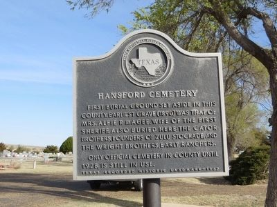 Hansford Cemetery Marker image. Click for full size.