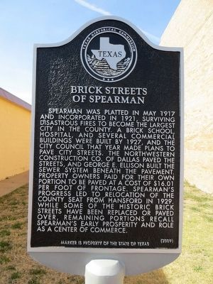 Brick Streets of Spearman Marker image. Click for full size.