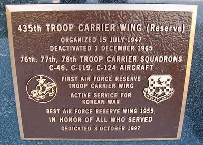 435th Troop Carrier Wing (Reserve) Marker image. Click for full size.