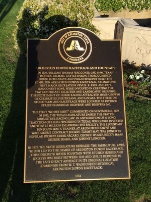 Arlington Downs Racetrack and Fountain Marker image. Click for full size.