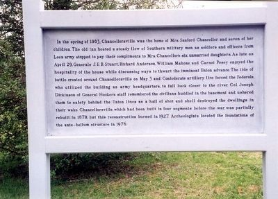 Chancellorsville home of Mrs. Sanford Chancellor Marker image. Click for full size.
