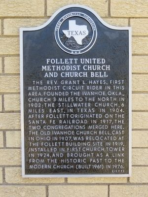 Follett United Methodist Church and Church Bell Marker image. Click for full size.
