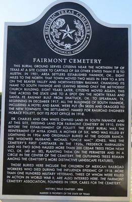 Fairmont Cemetery Marker image. Click for full size.