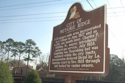City Of Metairie Ridge Marker image. Click for full size.