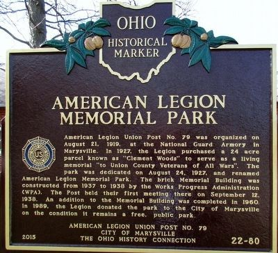 American Legion Memorial Park Marker image. Click for full size.