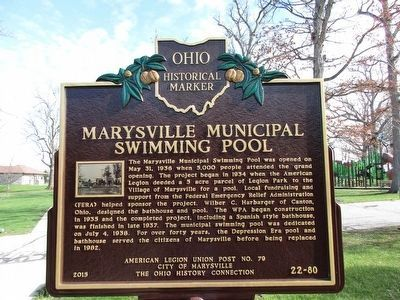 Marysville Municipal Swimming Pool Marker image. Click for full size.