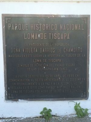 Parque Historico Nacional Lomas de Tiscapa (National Historic Park) additional marker image. Click for full size.
