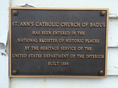 St. Ann's Catholic Church of Badus Marker image. Click for full size.