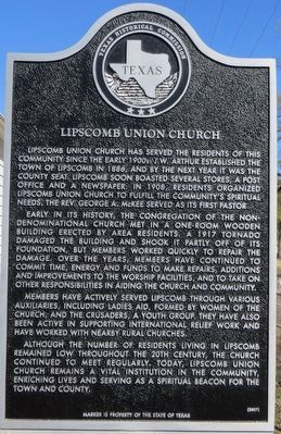 Lipscomb Union Church Marker image. Click for full size.