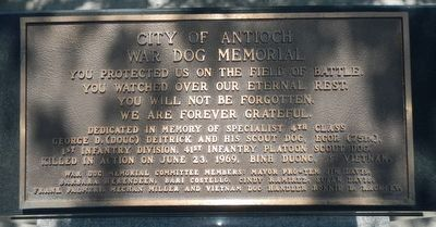 City of Antioch War Dog Memorial Marker image. Click for full size.