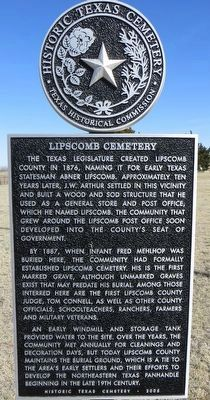 Lipscomb Cemetery Marker image. Click for full size.