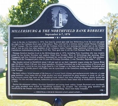 Millersburg & the Northfield Bank Robbery Marker image. Click for full size.