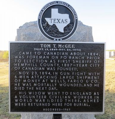 Tom T. McGee Marker image. Click for full size.
