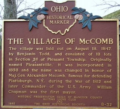 The Village of McComb Marker image. Click for full size.