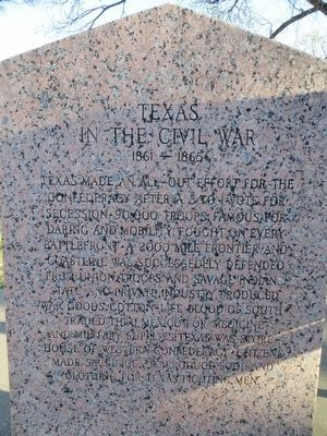 <i>Back Side:</i> Texas In the Civil War Marker image. Click for full size.