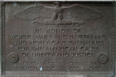 World War I and II Veterans Memorial Marker image. Click for full size.
