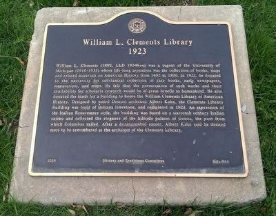 William L. Clements Library marker image. Click for full size.