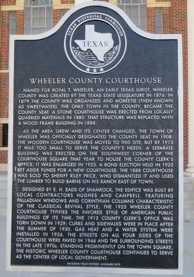 Wheeler County Courthouse Marker image. Click for full size.