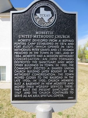Mobeetie United Methodist Church Marker image. Click for full size.
