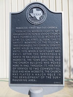 Mobeetie First Baptist Church Marker image. Click for full size.
