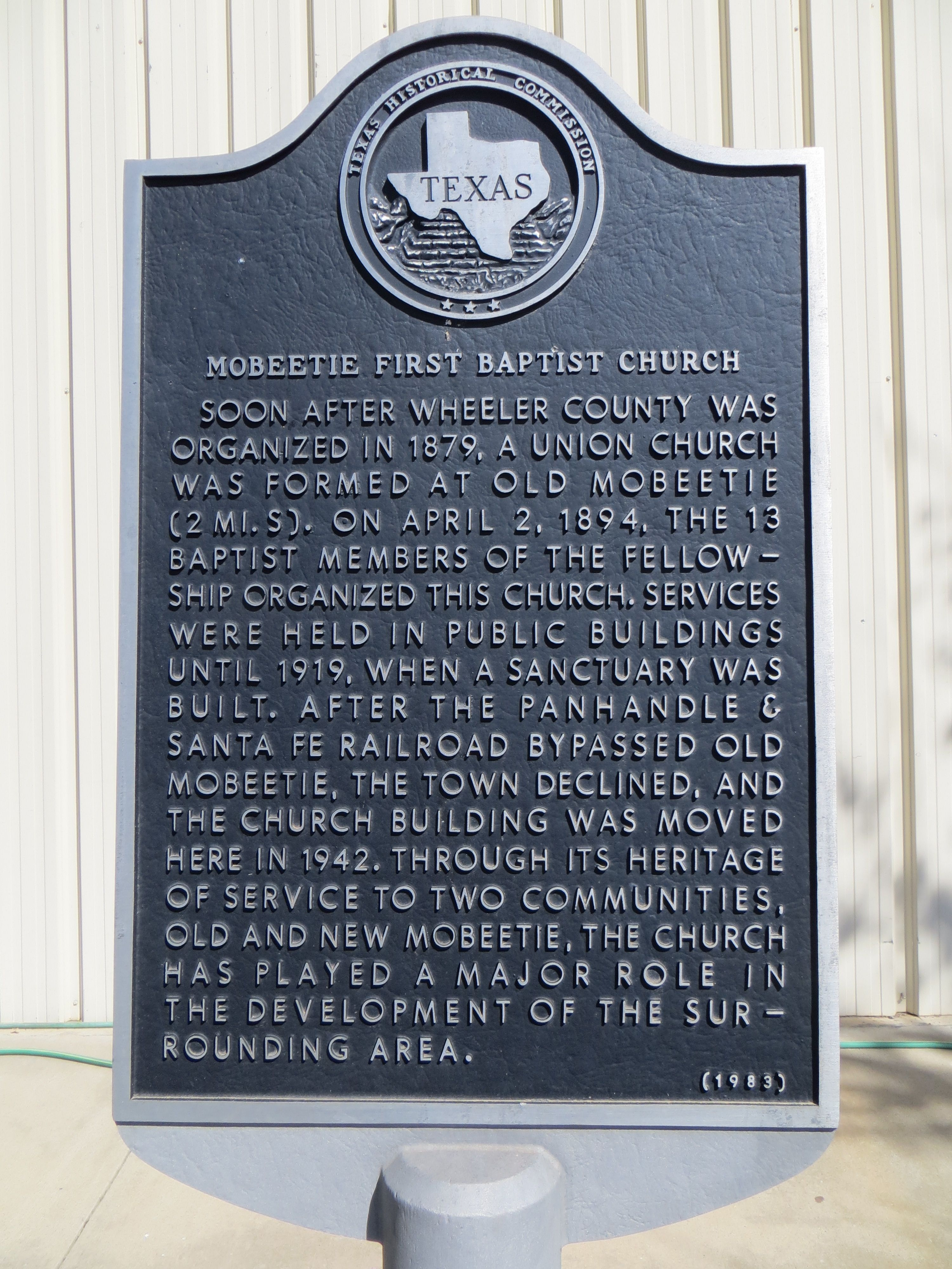 Mobeetie First Baptist Church Marker