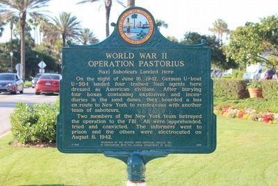 Newly restored World War II Operation Pastorius side of marker image. Click for full size.