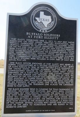 Buffalo Soldiers at Fort Elliott Marker image. Click for full size.