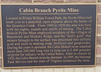 Cabin Branch Pyrite Mine Marker (refurbished) image. Click for full size.