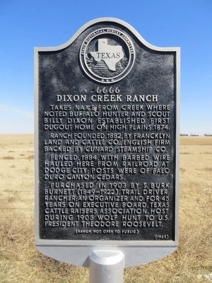 6666 Dixon Creek Ranch Marker image. Click for full size.