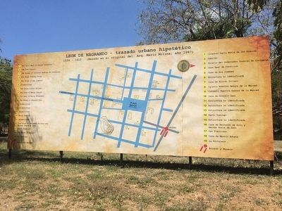 A billboard-sized map of the site of Viejo León near the marker image. Click for full size.