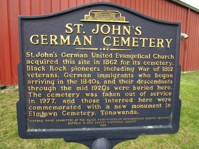 St. John's German Cemetery Marker image. Click for full size.