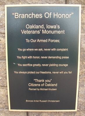 """Branches Of Honor"" Veterans Memorial Marker image. Click for full size."