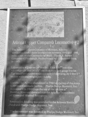 Arizona Copper Company's Locomotive #2 Marker image. Click for full size.