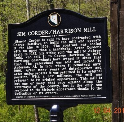 Sims Corder/Harrison Mill Marker image. Click for full size.