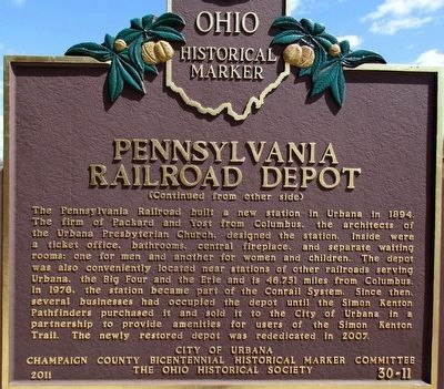 Pennsylvania Railroad Depot Marker (side B) image. Click for full size.