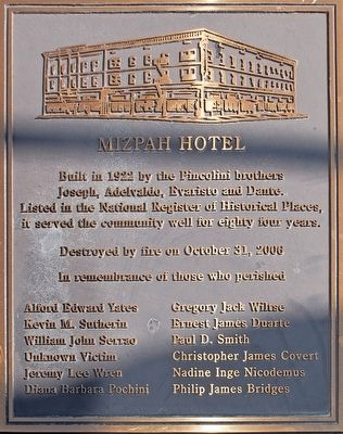 Mizpah Hotel Marker image. Click for full size.