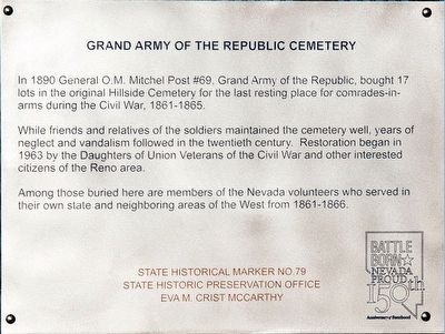 Grand Army of the Republic Cemetery Marker image. Click for full size.