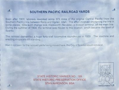 Replacement Southern Pacific Railroad Yards Marker image. Click for full size.