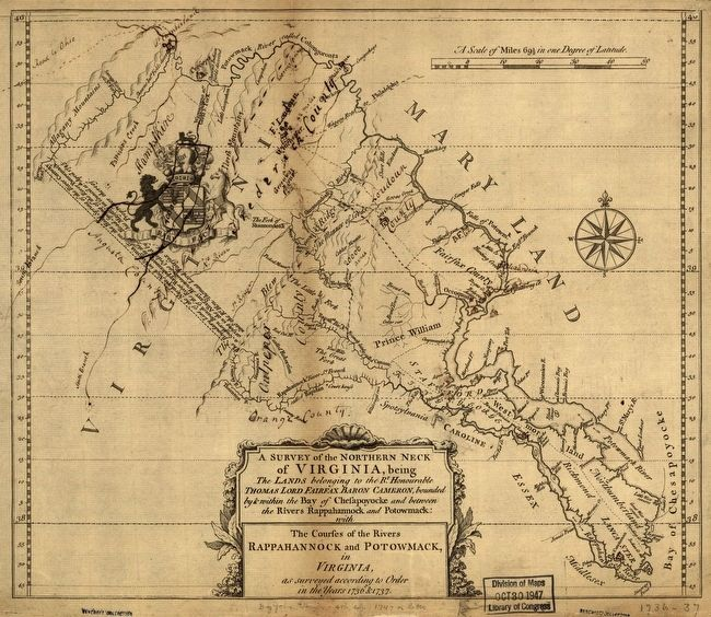 A Survey of the Northern Neck of Virginia image. Click for full size.