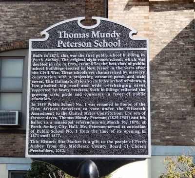 Thomas Mundy Peterson School Marker image. Click for full size.