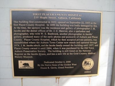 First Placer County Hospital Marker image. Click for full size.