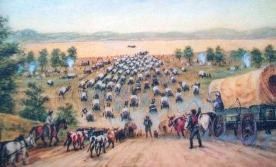 Kanesville Crossing: A Rush For Gold Marker Painting Detail image. Click for full size.