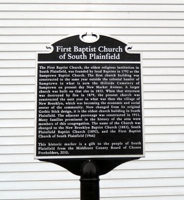 First Baptist Church of South Plainfield Marker image. Click for full size.