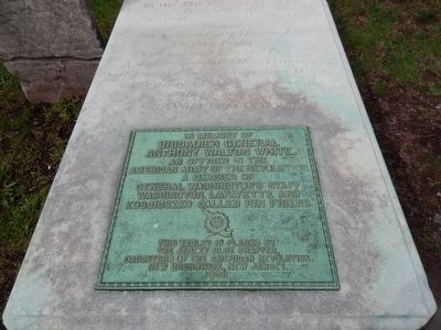 Brigadier General Anthony Walton White grave marker-Close up image. Click for full size.